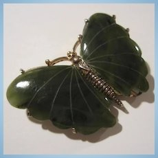 Alice Caviness Signed Rare Genuine Jade Sterling Vermeil Butterfly Brooch