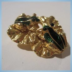 Two Enamel Frogs on Lily Pad Vintage Brooch Signed