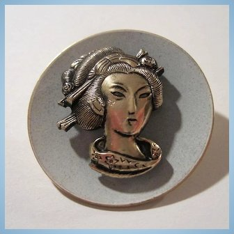 Lovely Asian Geisha Girl on Blue Enamel Brooch