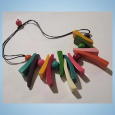 Fun Funky Bright Colors Lucite Geometric Necklace