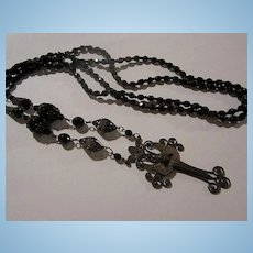 Amazing Art Nouveau Style Angel Cross Faceted Black Glass Opera Length Necklace
