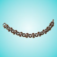 Swarovski Swan Mark Pave Link Jeweled Cabochons Gold Plate Bracelet