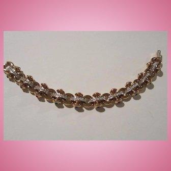 Swarovski Swan Mark Stunning Pave Link Jeweled Cabochons Gold Plate Bracelet