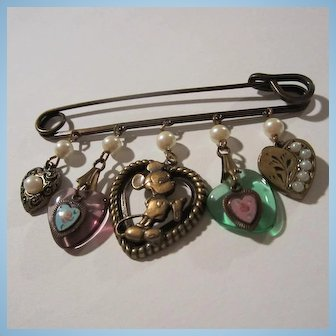 Glass Works Studio Signed Mickey Mouse Disney Heart Charms Safety Pin Brooch