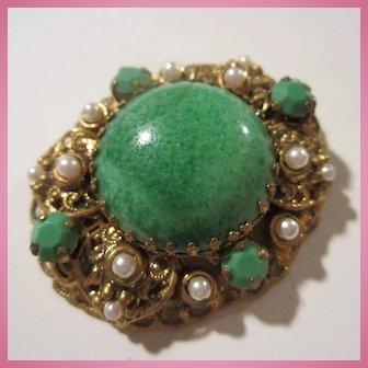 W Germany Signed Peking Glass Huge Cabochon fx Pearls Elaborate Brooch