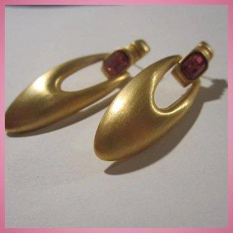 Matte Gold tone Rubelite faceted Crystal Doorknocker Pierced Earrings