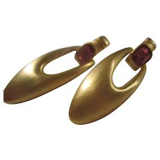 Matte Gold tone Rubelite faceted Crystal Doorknocker Pierced Earrings