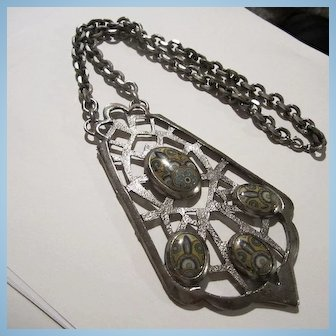 Huge Silver tone Abstract Modernist Statement Necklace