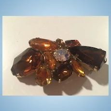 Fabulous Shades of Topaz Incredible High End Art Glass Brooch