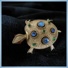 Signed Turtle Gold Plate Cabochon Brooch