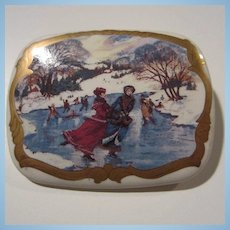 Victorian Winter Ice Skating Scene Porcelain Brooch