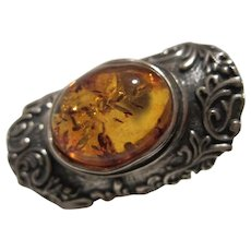 Gorgeous Amber Sterling Silver Bench made Signed Ring