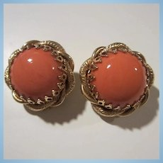 Stunning Coral Glass Cabochon Clip Earrings