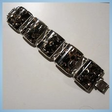 1950s Signed Confetti Black Lucite Gold tone Wide Statement Bracelet