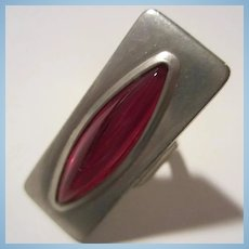 Jørgen Jensen Signed Pewter Modernist Red Handmade Ring Denmark