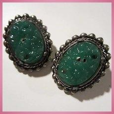 Green Peking Glass Silver tone Clip Earrings