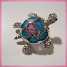 Plique a Jour Turtle Figural Rhinestone Pin