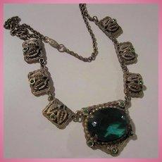 Czech Emerald Green Faceted Centerpiece Necklace
