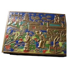 Antique Signed Chinese Enamel Brass Imperial Garden Wood Lined Box