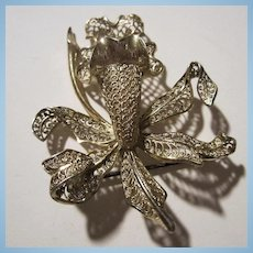 Fabulous Orchid Sterling Silver Open Work Filigree Brooch
