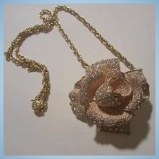 Stunning Dimensional Rose Sparkling Rhinestones Statement Pendant Necklace