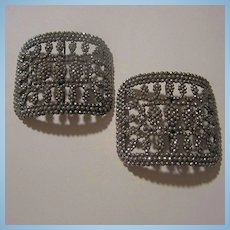 Antique French Sparkling Cut Steel Signed France Arle Shoe Buckles Clips