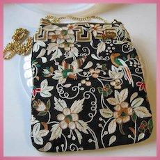 Fabulous Hand Stitched Crewel Pocketbook Signed Christina