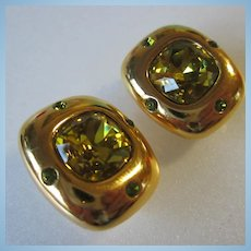 Stunning Joan Rivers Signed Citrine Peridot Swarovski Crystal Clip Earrings