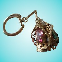 Fancy 1960s Jeweled Key Ring Accessory