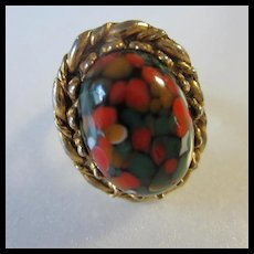 Vibrant Art Glass 1960s Adjustable Ring