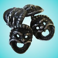 Antique Art Nouveau Gargoyle North Wind Sterling Silver Cufflinks
