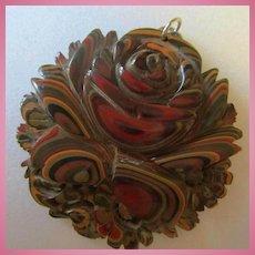 Fabulous Carved Detroit Agate Fordite Flower Pendant