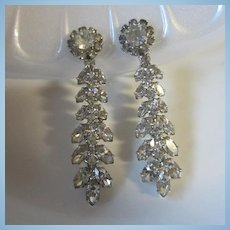 Weiss Signed Sparkling Elegant Crystal Occasion Clip Earrings