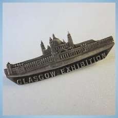 Antique 1901 Glasgow Exhibition Silver Souvenir C Clasp Brooch Pin