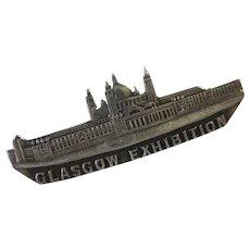 Antique 1901 Glasgow Exhibition Silver Souvenir C Clasp Brooch Pin