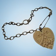 Fabulous 1920s Celluloid Art Nouveau Heart Safety Pin Chain Pendant Necklace