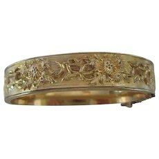 Dunn Bros Gold Filled Floral Bangle Bracelet
