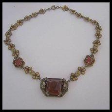 Art Nouveau Carnelian Brass Czech Flower Necklace