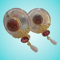 Gorgeous Amber Garnet Pearl Hand Made Sterling Silver Vermeil Pierced Earrings