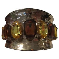 Citrine Topaz Crystal Wide Modernist Statement Cuff Bracelet