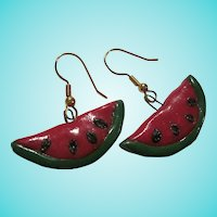 Fun Watermelon Polymer Clay Hand Made Earrings