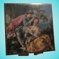 Lovely Romantic Courting Scene Vintage Pill Box
