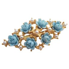 Blue Celluloid Carved Flowers Brooch