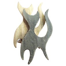 Gold and Silver Color Modernist Textured Cat Brooch
