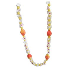 Orange White Yellow Early Plastic Flower Summery Necklace