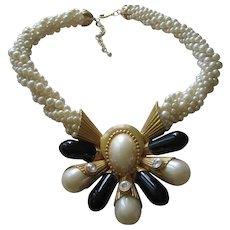 Stunning Black White fx Pearl Statement Runway Necklace