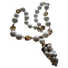 Fabulous White Glass Bead Grape Dangle Designer Necklace