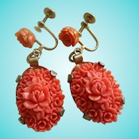 Coral Celluoid Flower Screw back Earrings