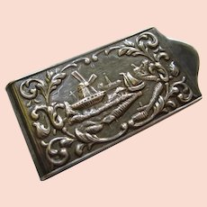 Herbert Hooijkaas 900 Silver Dutch Windmill Ships Money Clip