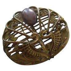 Art Nouveau Griffins Egyptian Revival Brass Sash Pin Brooch